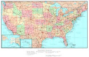 large detailed political and road map of the usa the usa