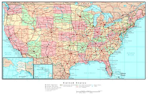 road map of large detailed political and road map of the usa the usa