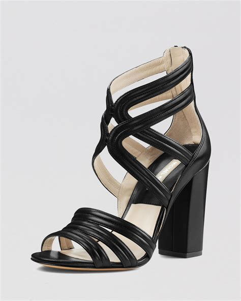strappy black sandals lyst michael kors sandals strappy high heel in black