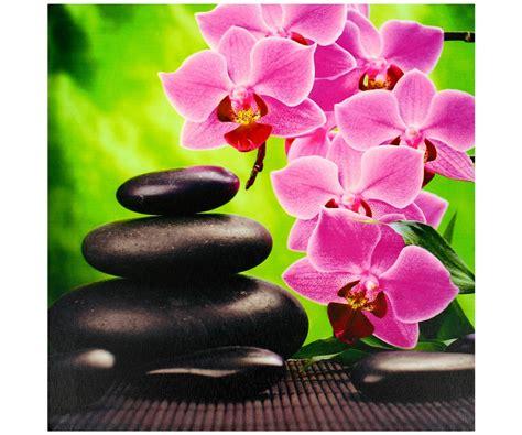 theme zen rose tableau toile cadre zen bambou colonne galets noir fleur