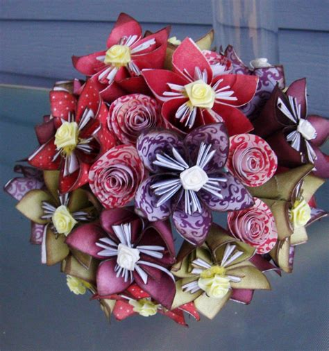 Origami Wedding Bouquet - origami handheld bridal bouquet eco friendly wedding ideas