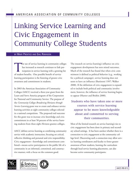 Civic Engagement College Essay by Linking Service Learning And Civic Engagement In Community College Students Pdf Available