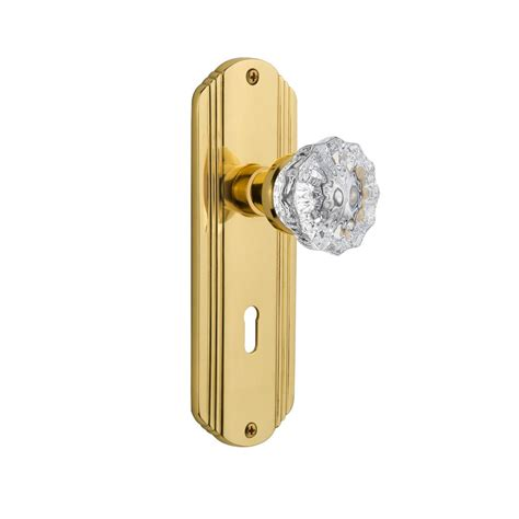Glass Door Knobs Home Depot Security Polished Brass Glass Knob Set With Spindle 1140 The Home Depot