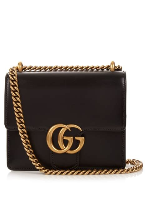 gucci gg marmont mini leather shoulder bag in black modesens