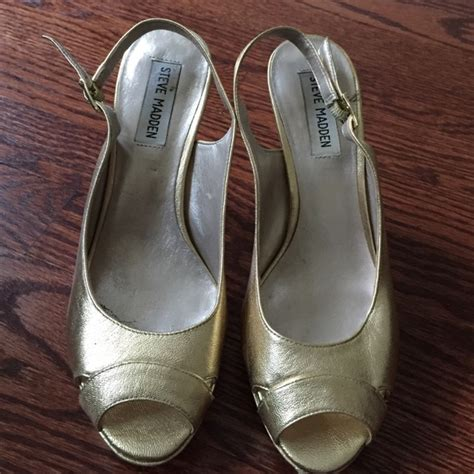 73 steve madden shoes gold peep toe steve madden heels in size 7 from s closet on