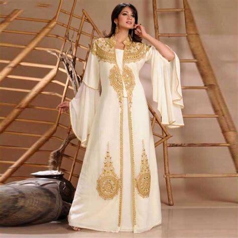 Promo 6965 Gold Maxi Maxi Dress Dress Muslim Murah Baju Muslim M 2015 robe de dubai white chiffon muslim evening dress gold beaded arabic dress sleeve