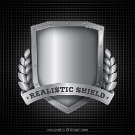 shield background realistic silver shield background vector free
