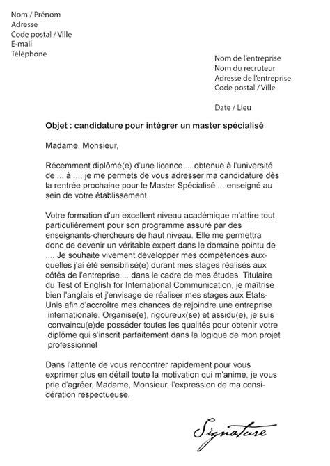 Lettre De Recommandation Mba Lettre De Motivation Master Sp 233 Cialis 233 Mod 232 Le De Lettre