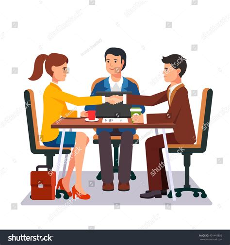 Japanese Style Desk Successful Business Negotiations Closed Deal Handshake