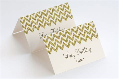 Diy Name Cards Template by Gold Place Card Template Chevron Name Cards Diy