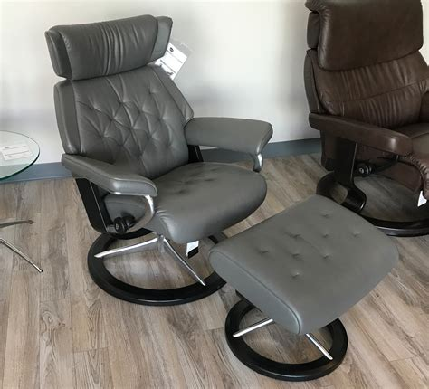 grey leather chair and ottoman stressless skyline signature base paloma metal grey