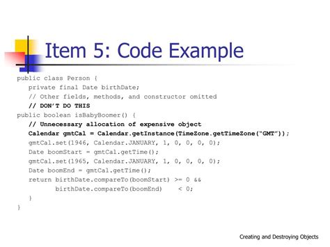 Calendar Compareto Ppt Effective Java Creating And Destroying Objects