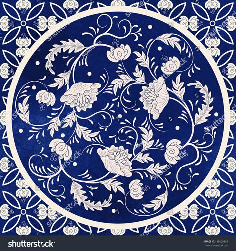china blue pattern vector vector background beautiful floral round pattern stock