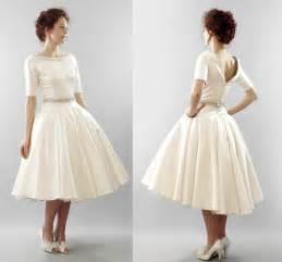 Modest ivory vintage inspired tea length bridal gown onewed com