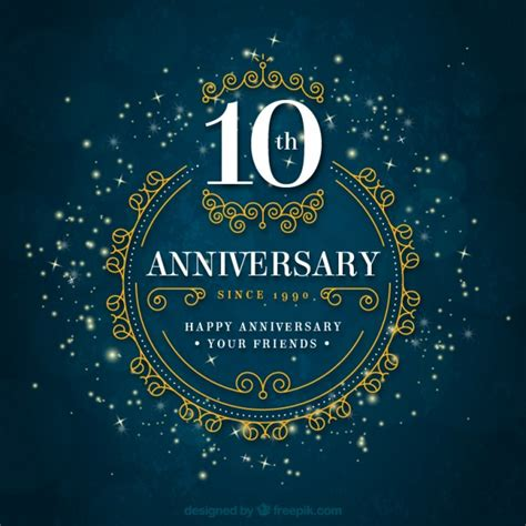 10 year anniversary card template anniversary background vector free