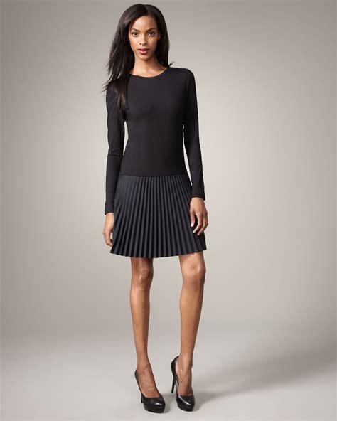 dkny pleated skirt dress in black lyst