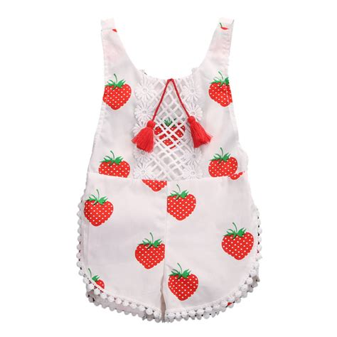 Romper Baby Romper Sweet Mo 2017 sweet infant baby clothes summer strawberry floral sleeveless romper sunsuit tassel