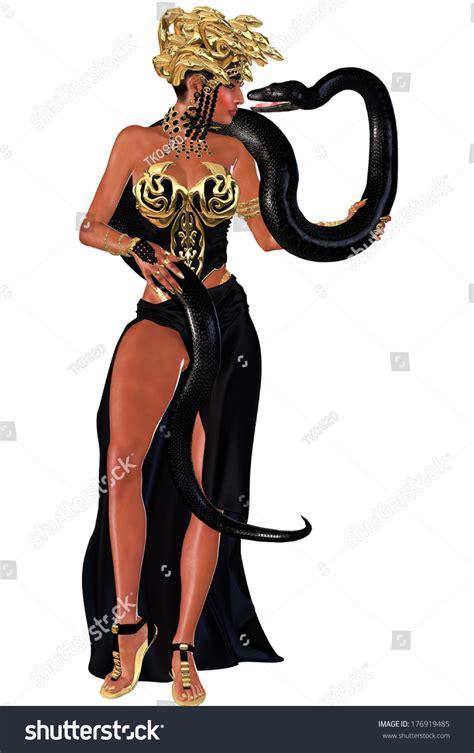 Everyone A Charmer by Snake Charmer With Python A High Slit Black Dress