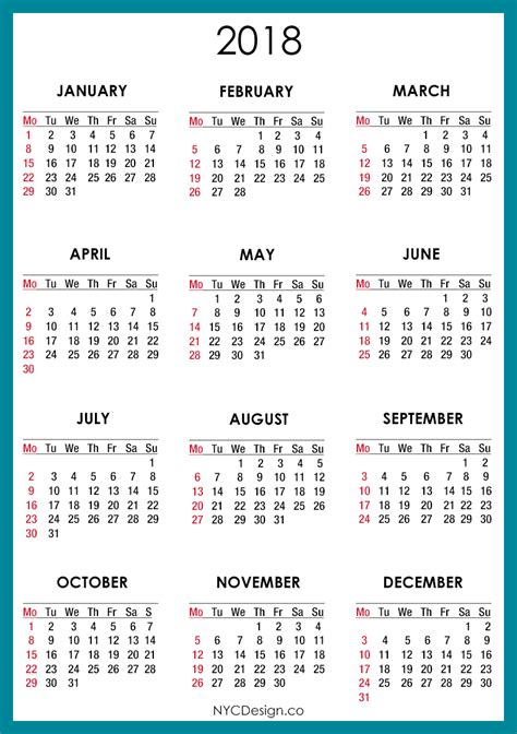 printable monthly calendar with holidays 2018 2018 calendar blue 001 png 790 215 1120 dates pinterest