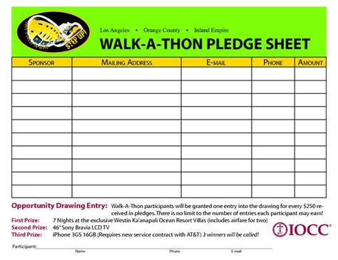 walk a thon card template walk a thon pledge sheet search cdg quot going the