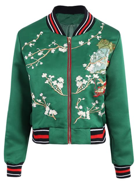Flower Embroidery Jacket by Flower Embroidery Bomber Jacket Green Jackets Coats S