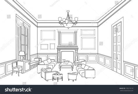 online drawing room drawingroom editable vector illustration outline sketch