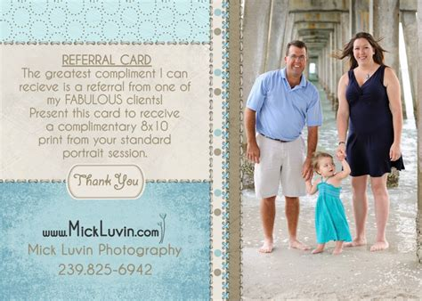 referral card template photography mick luvin photography referral card template