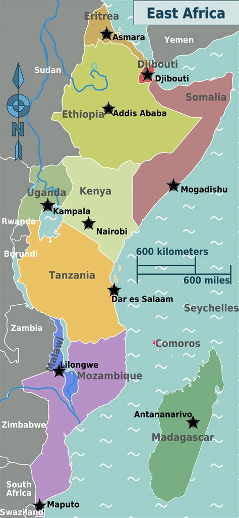east africa regions map mapsofnet africa africa map