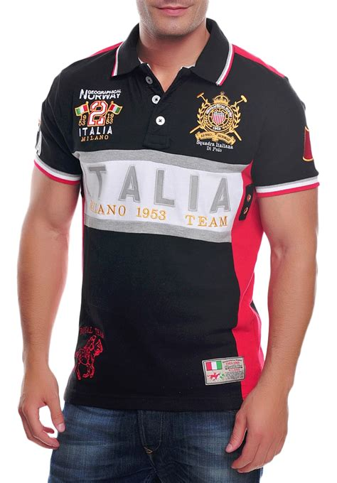 Polo Shirt Italy 01 R9nf geographical s polo shirt black emroideries italia team