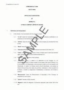 memorandum and articles of association sample best