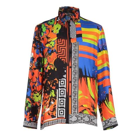 Versace Gold And Multi Colored Print Bag by Versace Printed 100 Silk Shirt As Seen On Bruno Mars At