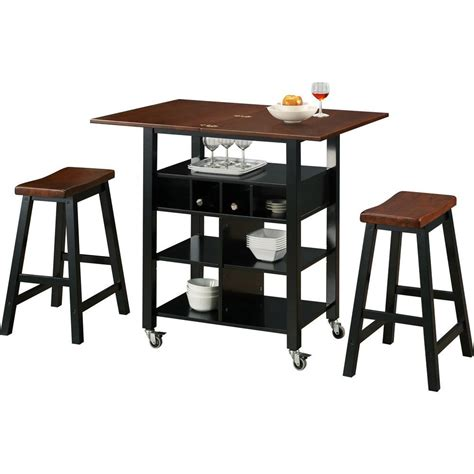 kitchen island with 4 stools 4d concepts 27 5 in w kitchen island cart in mahogany and black with 2 stools 43928