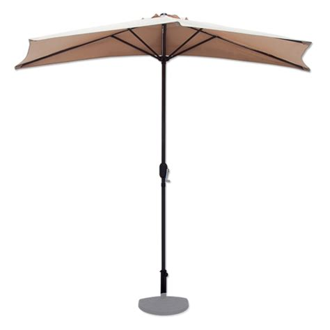 Half Umbrella For Patio 10 Ft Half Patio Umbrella Beige Outdoor Wall Balcony Sun Shade Awning Ebay