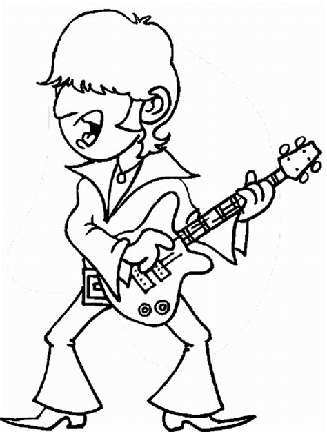 coloring page of a rock star rock star coloring pages birthday printable