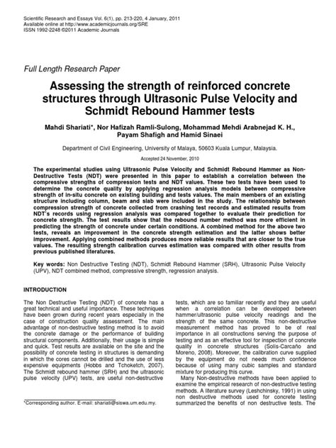Assessing the Strength of RC Structures Through Ultrasonic