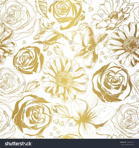 pattern elegant illustrator elegant white pattern gold flowers vector stock vector