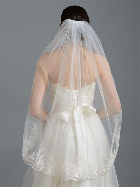 Wedding Veil by Ivory Alencon Lace Wedding Veil V037