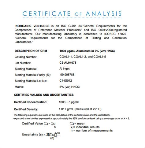 certificate of manufacture template certificate of manufacture template images template