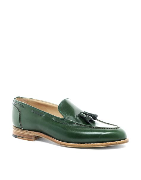 green mens loafers tricker s chelsea tassel loafers in green for lyst