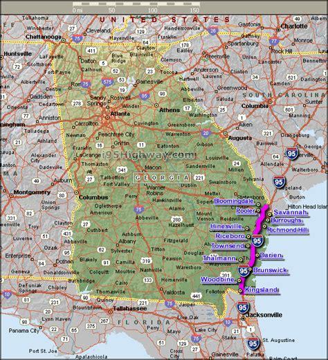 road map usa 95 interstate 95 georgia map