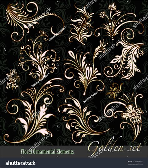 gold vintage design elements vector ornament vector elements vintage gold floral stock vector