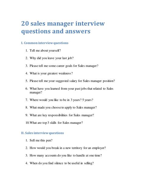 20 sales manager questions and answers