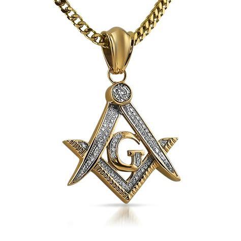gold masonic free cz bling pendant steel stainless