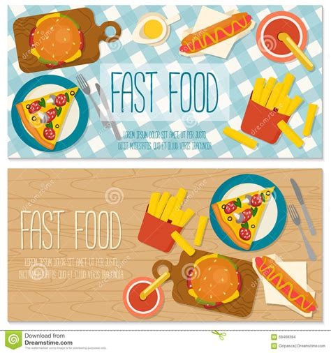design banner burger flat design banner with fast food stock vector image