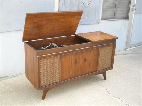 1960s record player cabinet mid century modern record player console am fm stereo by