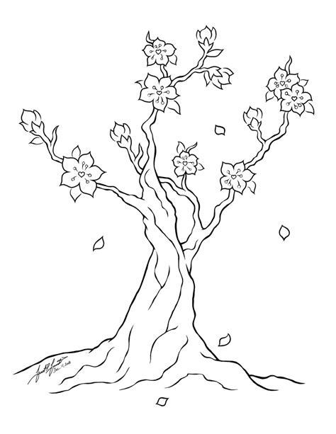 cherry blossom tree line art by pulsedragon on deviantart