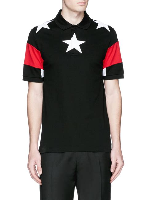 givenchy shirt givenchy appliqu 233 colourblock polo shirt in black for null lyst