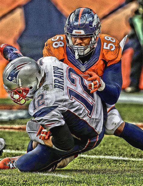 Dallas Cowboys Duvet Cover Von Miller Denver Broncos Art Painting By Joe Hamilton