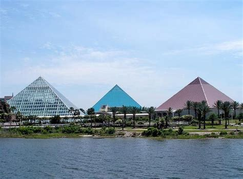 Moody Gardens Pyramids by Pyramids At Moody Gardens As Seen From The Paddlewheeler