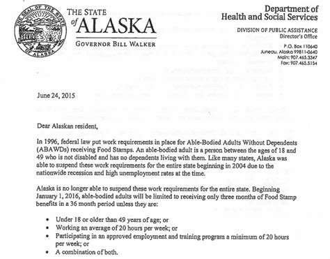 Food St Award Letter State Changes Food St For Quot Able Bodied Adults Without Dependents Quot